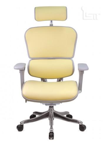 Кресло из натуральной кожи Ergohuman Lux в сером корпусе