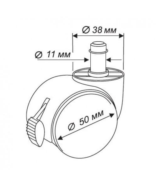 Набор колес Бюрократ BlockCastorSet3850/PU черный с блокировкой (5 шт)