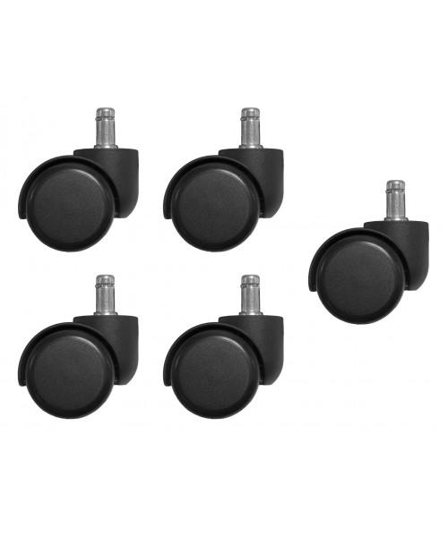 Набор колес Бюрократ CastorSet3850/PU черный для паркета/ламината (5шт)