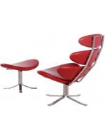 Кресло Poul Volther Style Corona Chair & Ottoman красная кожа