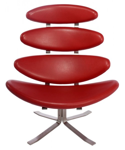 Кресло Poul Volther Style Corona Chair красная кожа