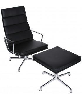 Кресло Eames Style Soft Pad Lounge Chair & Ottoman EA222/EA223