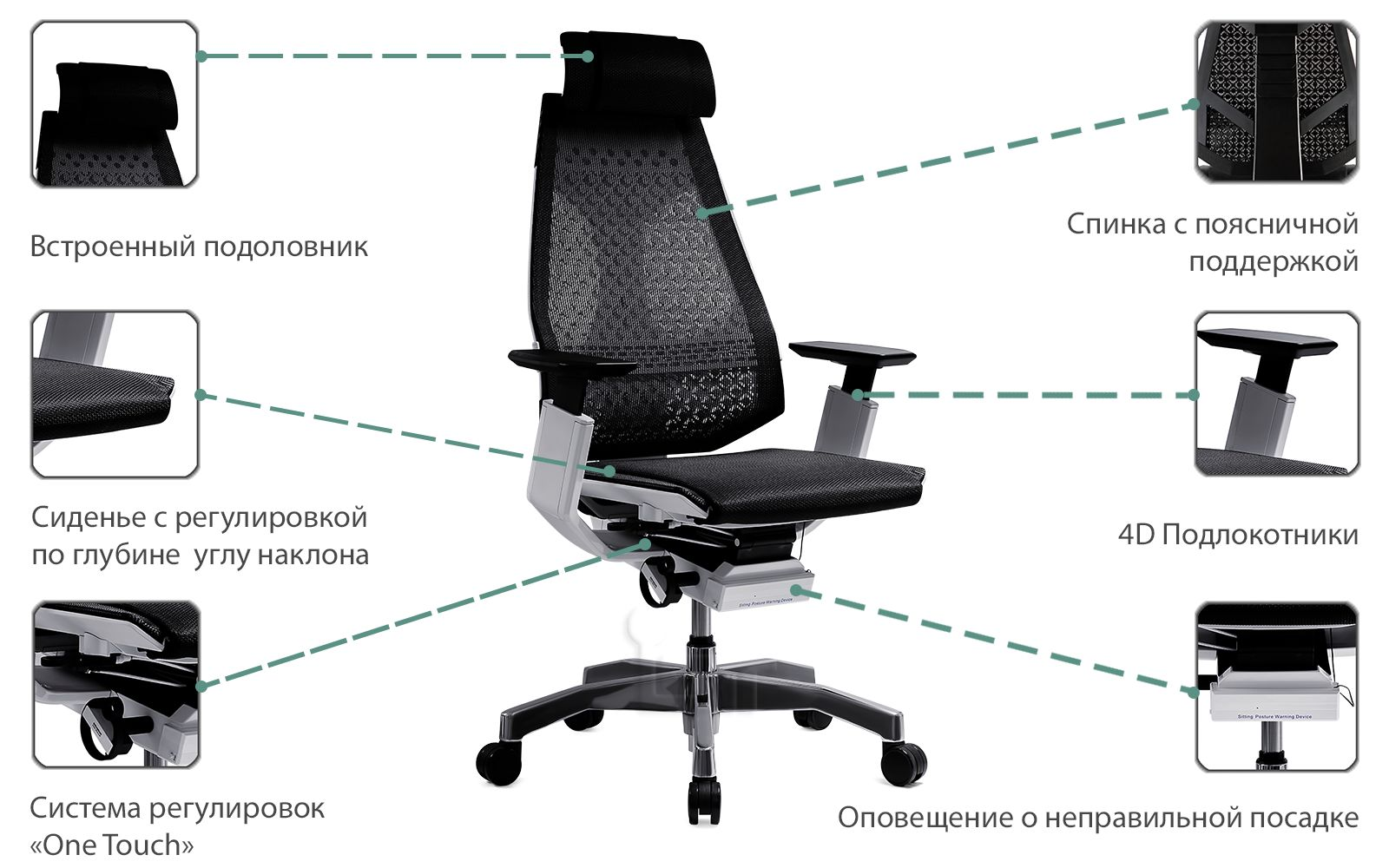 Инфографика кресло Geniaia от Comfort Seating (Workspace)